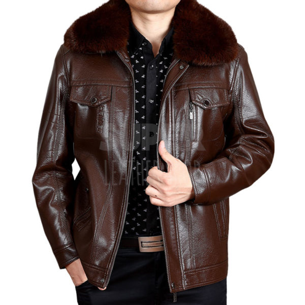Men-Brown-Leather-Bomber-Jacket-With-Fur-Collar