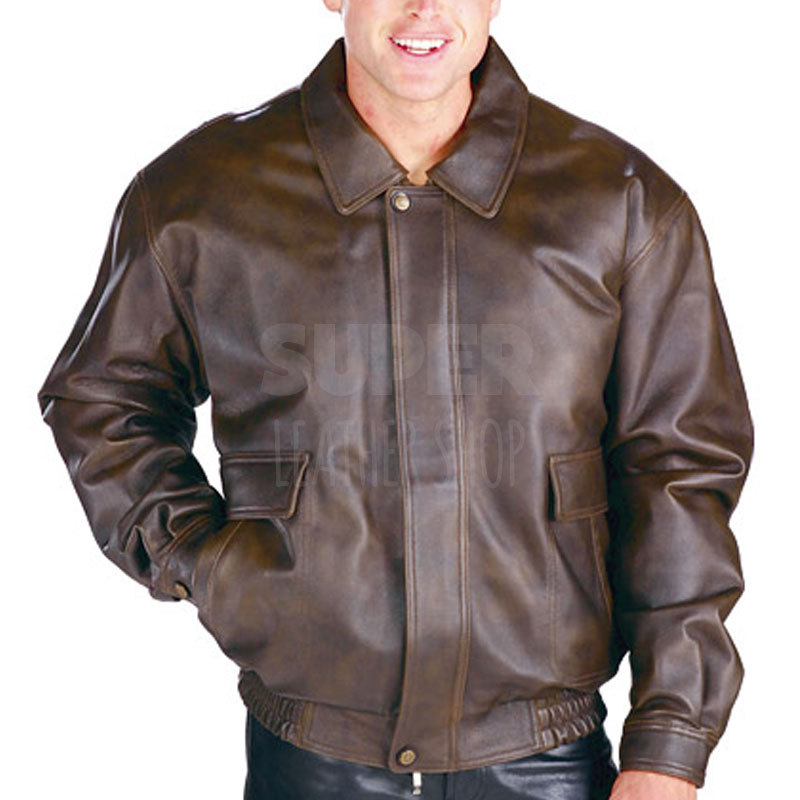 Distressed brown leather bomber jacket