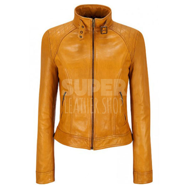 Black Rivet Yellow Scuba Quilted Women Jacket