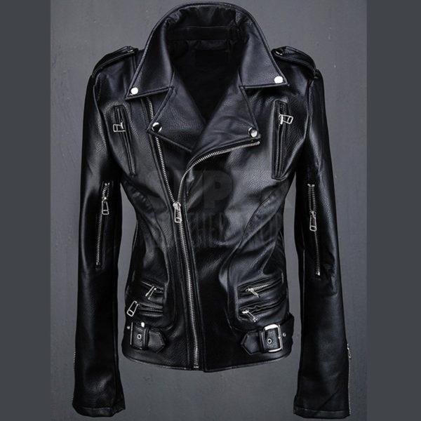 BytheR Mens Sleeve Zippers Biker Black Rider Jacket
