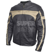 Men's Armored Stripes Leather Motorcycle Jacket