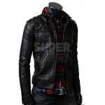 Slim Fit Strap Pocket Black Leather Jacket  (1)