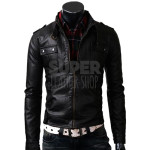 Slim Fit Strap Pocket Black Leather Jacket  (2)