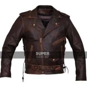 Marlon Brando Brown Distressed Motorcycle Armored Jacket