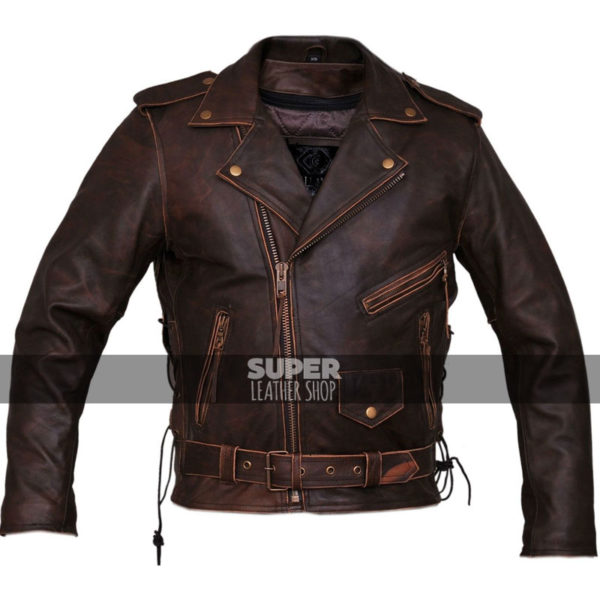 Marlon Brando Brown Distressed Motorcycle Armored Jacket
