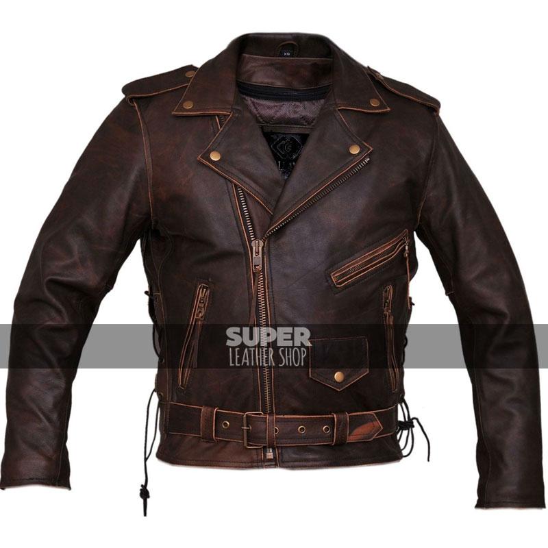 b818564fb8eeb Marlon Brando Brown Distressed Motorcycle Armored Jacket
