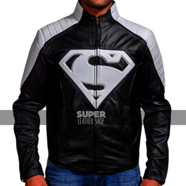 Smallville-superman-black-grey-clark-kent-leather-jacket