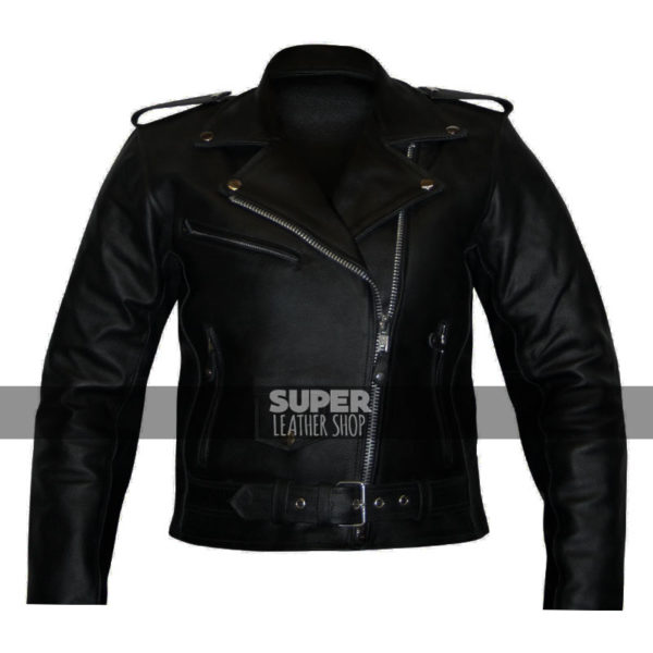 Women-scooter-belted-rider-black-jacket