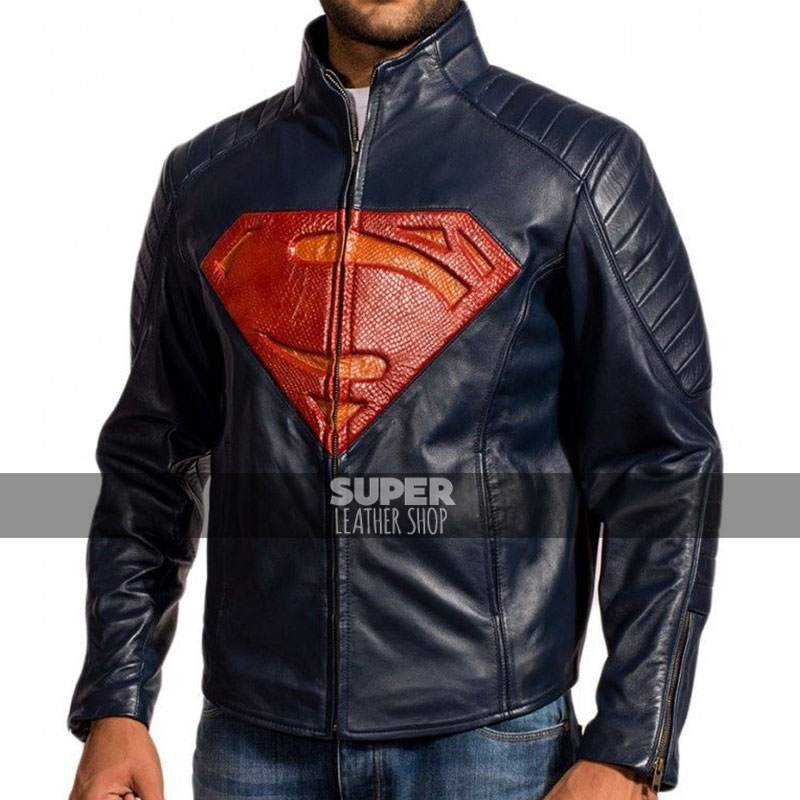 2XL RSH Leathercraft Superman Man of Steel Blue and Black Sheepskin Leather Jacket