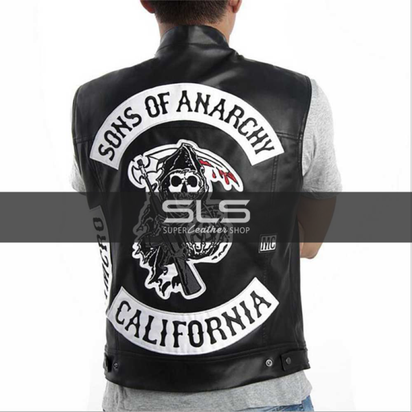 SONS OF ANARCHY TELLER LEATHER VEST WITH PATCHES (1)