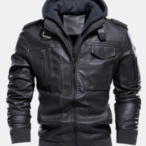 SUPER LEATHER SHOPMENS PU ZIP UP POCKET DETACHABLE HOODED ELASTIC JACKETS