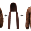 Men Brown Leather Motorcycle Jacket with Removable Hood-Full