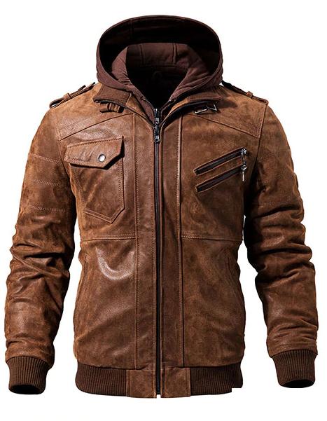 Men Brown Hood  Leather Motorcycle Jacket